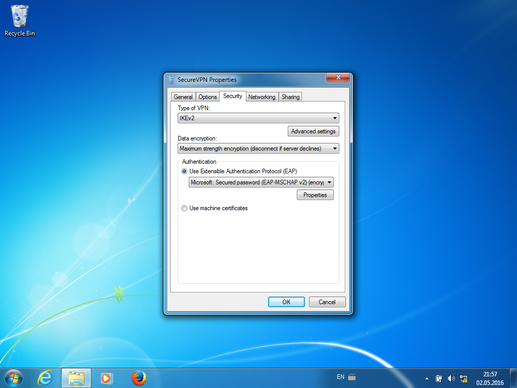Setting up IKEv2 VPN on Windows 7, step 9