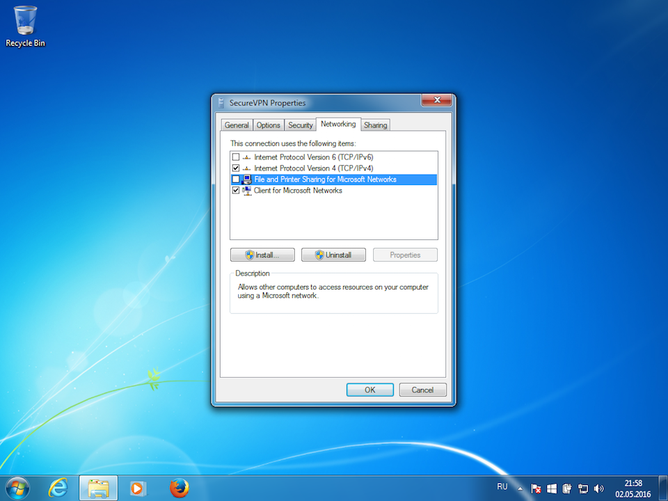 Setting up IKEv2 VPN on Windows 7, step 10