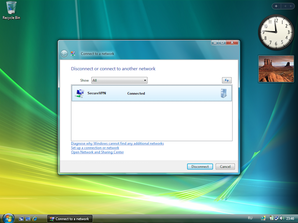 Setting up PPTP VPN on Windows Vista, step 14
