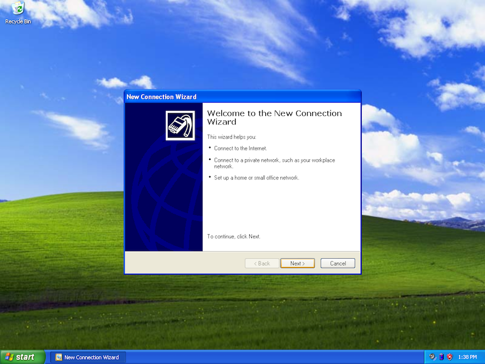 Setting up PPTP VPN on Windows XP, step 3