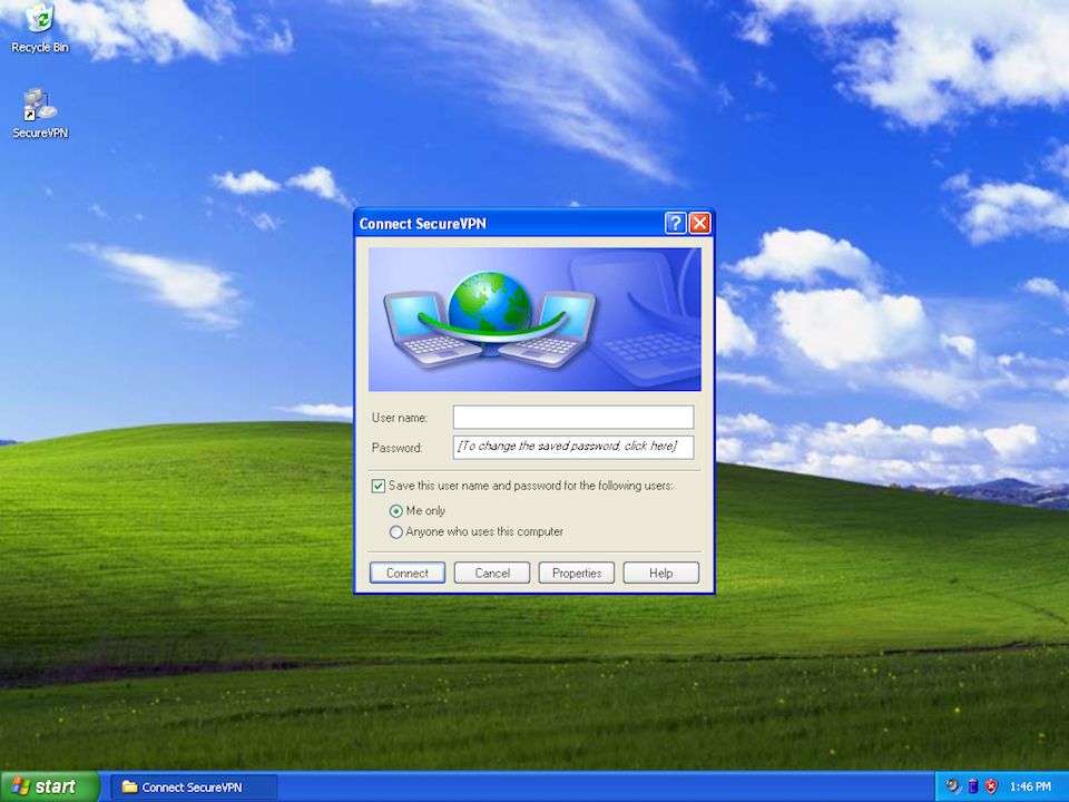 Setting up PPTP VPN on Windows XP, step 11