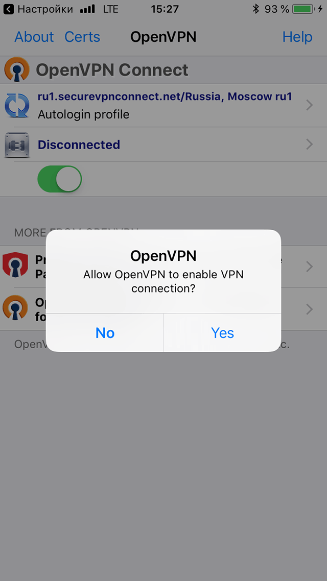 Setting up OpenVPN on iOS, step 8