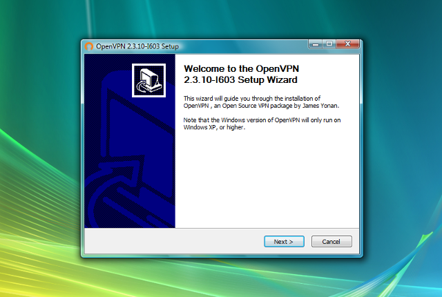 Setting up OpenVPN on Windows Vista, step 3