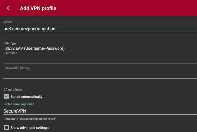 Setting up IKEv2 VPN on Android, step 3