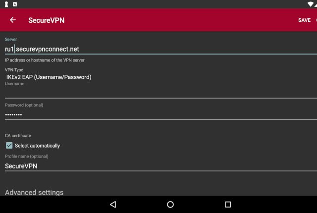 Setting up IKEv2 VPN on Android, step 8