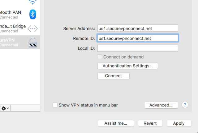 Setting up IKEv2 VPN on Mac OS X, step 4