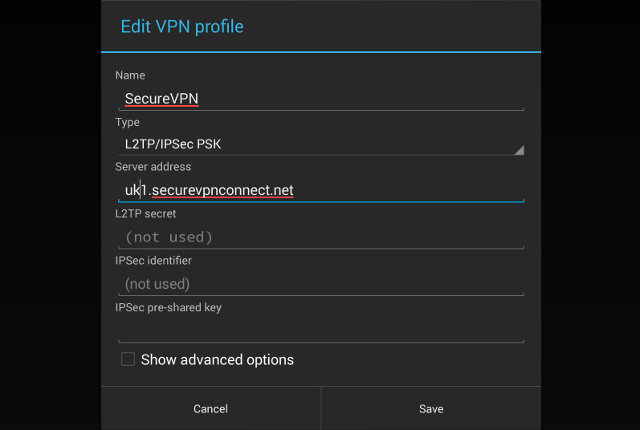 Setting up L2TP VPN on Android, step 9
