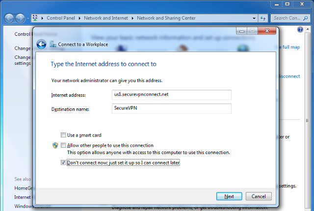 Setting up L2TP VPN on Windows 7, step 5