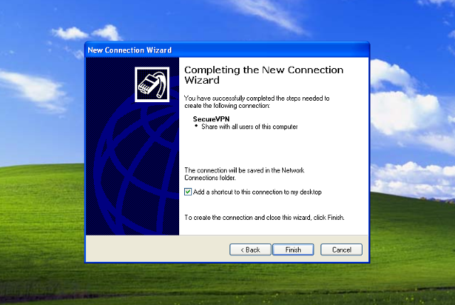 Setting up PPTP VPN on Windows XP, step 8