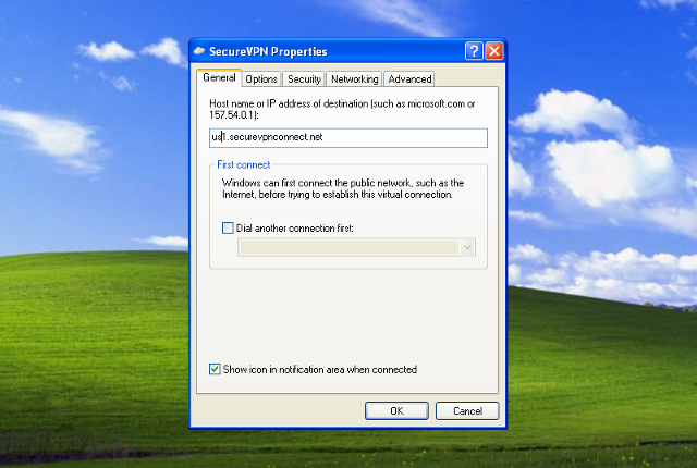 Setting up PPTP VPN on Windows XP, step 14